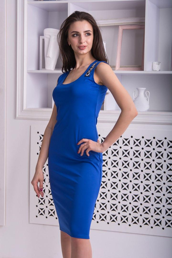 """Синее платье майка  """"Шанель"""""""