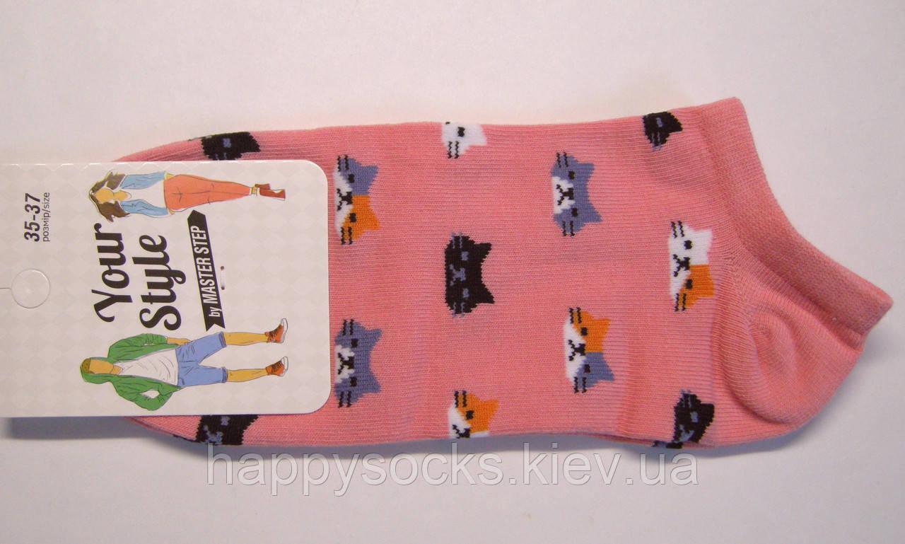 Носки розового цвета в кошачьи мордашки летние короткие