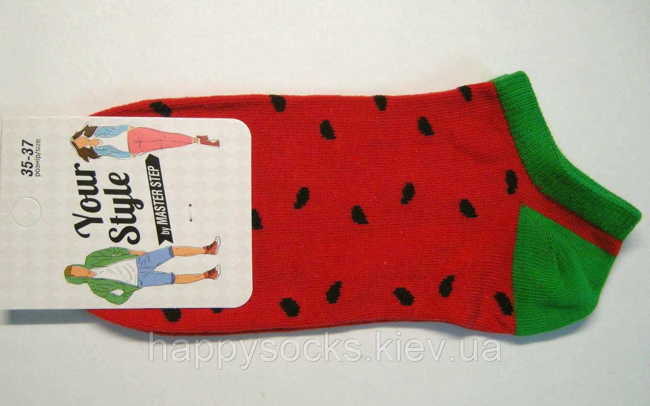 Носки с арбузным принтом красного цвета женские короткие