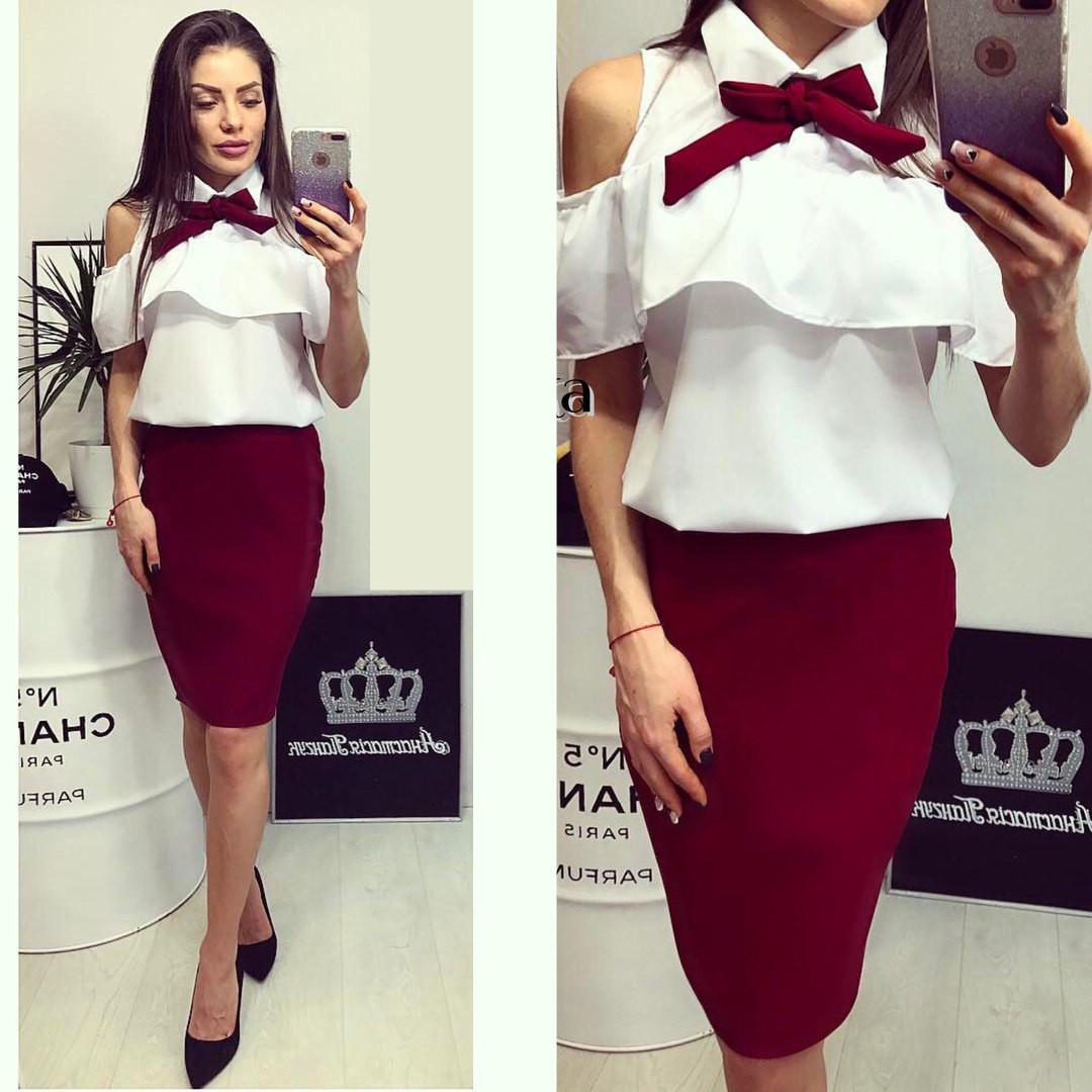 Мода костюм блуза и юбка