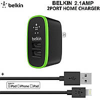 Belkin универсальный 2-USB от сети адаптер 2.0A + шнур USB Iphone