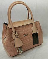 Сумка брендовая Christian Dior под рептилию мини цвет пудра