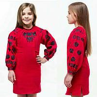 Вишите плаття для дівчинки на довгий рукав, 100%-льон