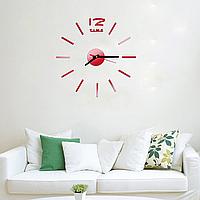 Часы интерьерные на стену с палочками (диаметр 0,35 - 0,5 м) красные глянцевые [Пластик]