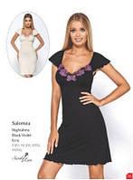 Сорочка ночная рубашка женская черная кремовая пеньюар большого размера Hamana Salomea