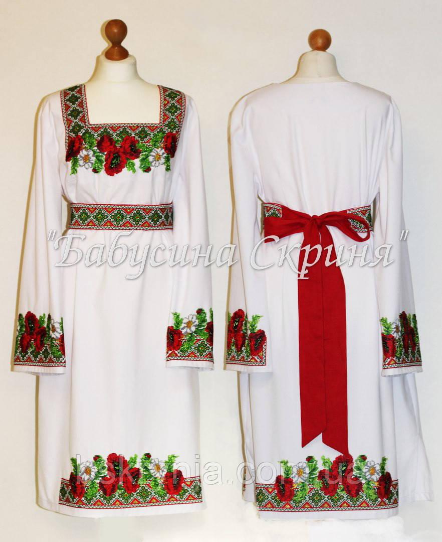 Заготовка жіночої сукні для вишивки нитками/бісером БС-7с