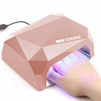 LED+CCFL гибридная лампа для гель лаков и геля (розовая).