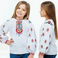Оригінальна вишиванка для дівчинки на білому льоні, 122-152см