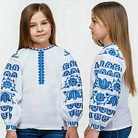 Стильная вышиванка для девочки на длинный рукав, 122-152см