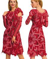 Платье вязаное  коралловое