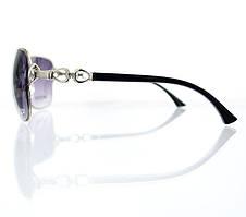 Объемные женские солнцезащитные очки-авиаторы с замысловатой дужкой, фото 3
