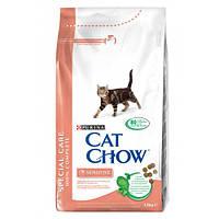 Cat Chow Sensitive для взрослых кошек с чувствительной кожей и пищеварением