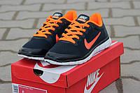 Женские кроссовки Nike Free Run 3.0 темно синие с оранжевым 1868