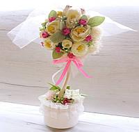 Свадебное дерево счастья (топиарий) на столы в розовом цвете