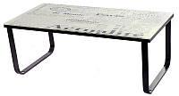 Журнальный столик С-200 каленое 10 мм стекло принт газета, каркас крашенный металл, стиль модерн, арт деко
