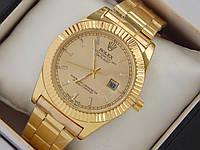 Женские кварцевые наручные часы Rolex на металлическом браслете золотого цвета с датой, фото 1