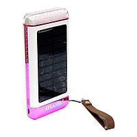 Power Bank AT-2029 Elite на 3 USB, 12000mA + солнечная батарея + фонарик