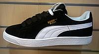 Мужские кроссовки Puma Suede черные с белым