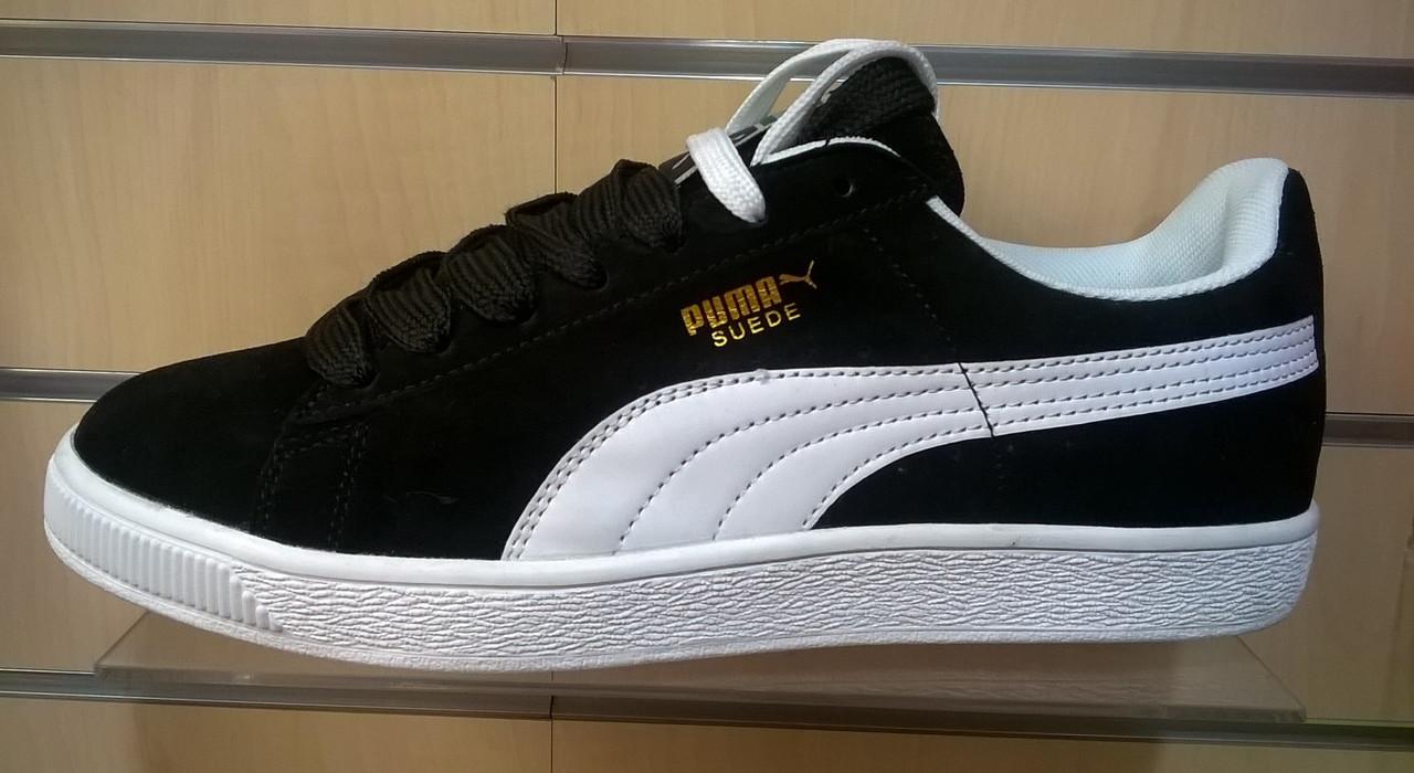 Мужские кроссовки Puma Suede черные с белым - Интернет магазин  krossovkiweb.kiev.ua в 4357fa3c6ed