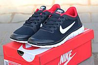 Женские кроссовки Nike Free Run 3.0 темно синие с красным 1869