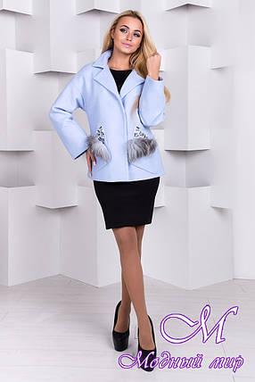 Женское голубое весеннее полупальто (р. S, M, L) арт. Мироку шерсть меланж - 9787, фото 2
