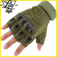 Перчатки тактические с открытыми пальцами   Oakley зеленый