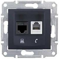 Розетка компьютерная+телефонная  Schneider-Electric Sedna SDN5100170 графит