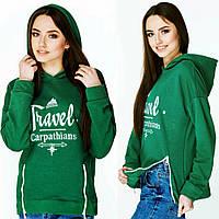 """Модный худи для девушек зелёного цвета  """"Travel Carpathians"""""""