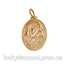 Золота підвіска-ікона Матір Божа з Ісусиком