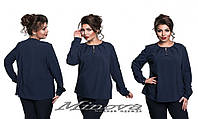Женская однотонная блузка батал на пуговицах
