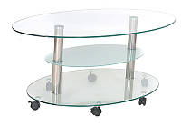Журнальный столик С-103 каленое стекло прозрачное и сатин, каркас металл полированная нержавейка, на колесиках