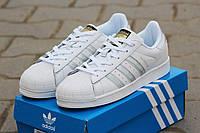 Женские кроссовки Adidas Superstar белые в серебре 1874