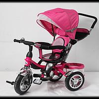 """Велосипед для малышей с ручкой TR16001, розовый, 3-х колесный 12/10"""", корзинка для игрушек"""