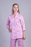 Нежно-розовый женский медицинский костюм, ткань коттон