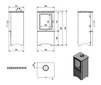 Печь-камин стальная  Koza K5 закрытая (дымоход 150 мм)