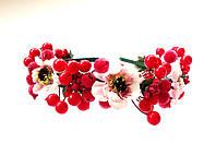 Обруч веночек ручной работы нежные цветы и калина