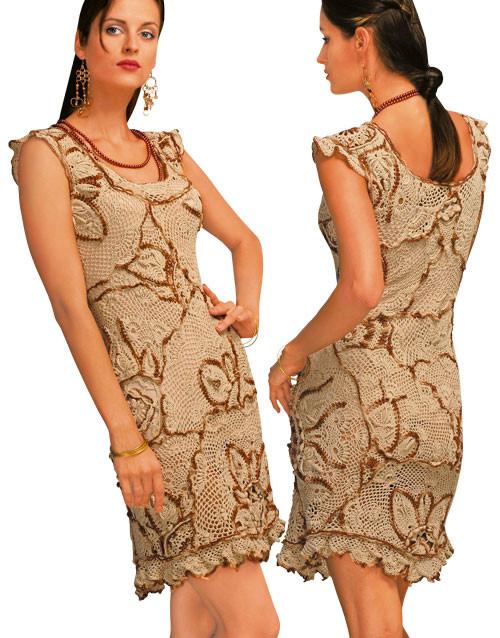 Платье вязаное ажурное