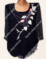 Стильная черная женская туника Батал 54373