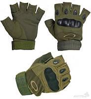 Тактические перчатки Oakley Военные с открытыми пальцами, спортивные Зеленый