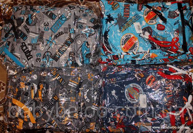 """Летние капри для мальчика с карманами """"Газета"""" (рост от 92 до 140 см) , фото 2"""