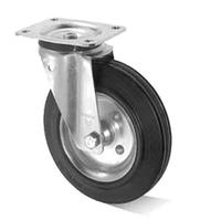 Колеса металлические с литой черной резиной, диаметр 80 мм, с поворотным кронштейном