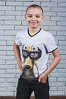 Стильная футболка для мальчика с печатью белая