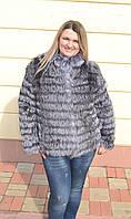 Полушубок из натурального меха чернобурки. Длина 65 см