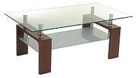 Журнальный стол С-107-2 орех прямоугольный, каленое стекло, каркас МДФ цвет орех, стиль модерн