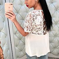 Женская блузка-рубашка с кружевом (черная и белая)