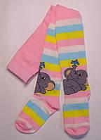 Колготки на девочку розовые в цветную полоску со слоником