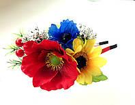 Обруч веночек ручной работы боковой, три нежных цветка