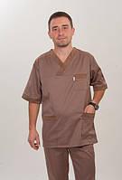Коричневый мужской медицинский костюм с коротким рукавом
