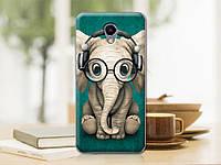 Оригинальный чехол панель накладка для Meizu M5 note с рисунком слон в наушниках и очках