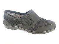 Туфли на резинках мужские черный сетка ANKOR